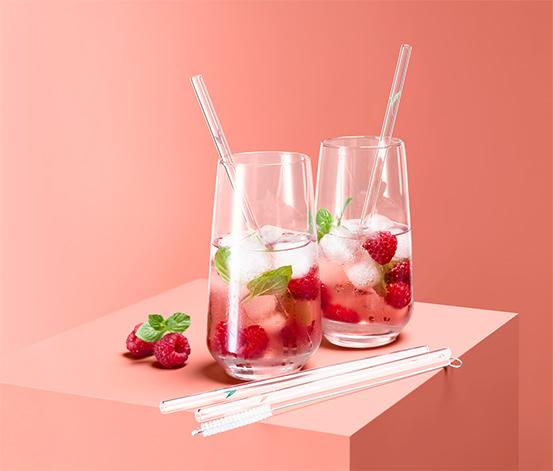 Szklane słomki do picia, 4 sztuki