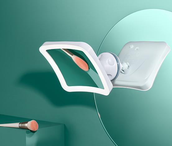 Podświetlane białe lusterko kosmetyczne LED, z mocną przyssawką obrotową 360°