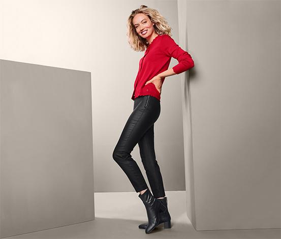 Powlekane, damskie spodnie ze streczu