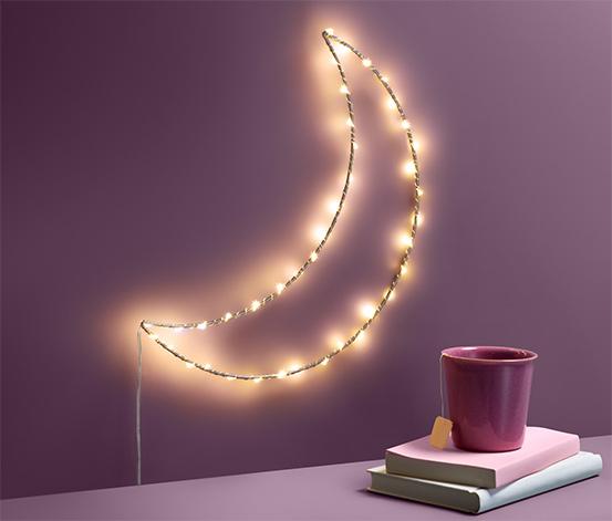 Metalowa dekoracja oświetleniowa LED w kształcie półksiężyca