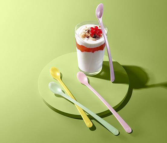Komplet 4 łyżek do jogurtu, różnokolorowe