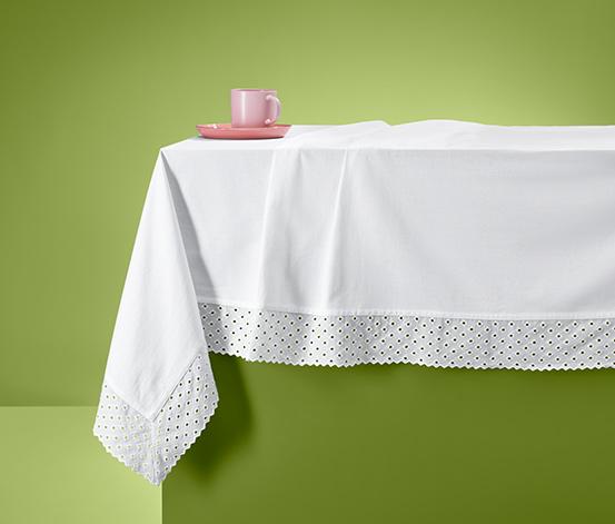Biały bawełniany obrus z haftem, ok. 275 x 150 cm