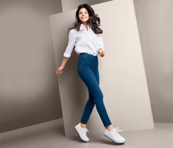 Damskie tregginsy stylizowane na jeans o długości do kostek
