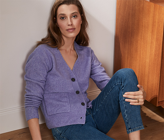 Sweter z dzianiny z wełną, liliowy