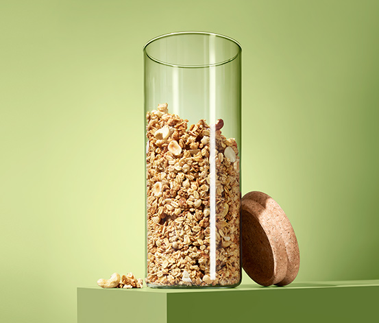 Szklany pojemnik do przechowywania sypkich produktów ok. 1,4 l, z korkową pokrywką